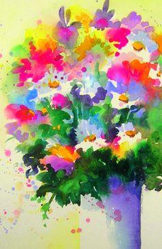 Joy Bouquet, watercolor by Kim Attwooll
