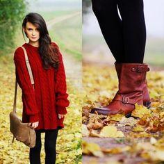 crimson sweater dress