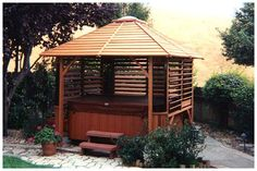 Creative DIY Fence Outdoor Project. Louvered Hardward: Hot Tub Privacy / Spa Enclosure