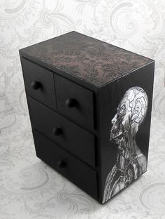 Black and White Vintage Anatomy Stash Jewelry Box by pzcreations22.