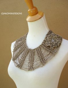 Necklace | Gsakowski Designs.  Hand crocheted with acrylic ribbon yarn and crystal details.