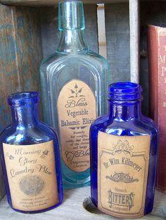 Vintage Blue Bottles with Nostalgic labels by Kathi Robinaugh