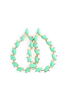 Marquise Teardrop Earrings in Mint.