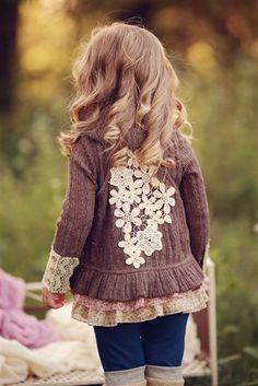 Baby Sara Floral Applique Vest in Mocha
