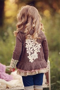 Baby Sara Floral Applique Vest in Mocha