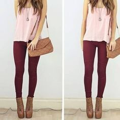 maroon jeans, white top, brown heels, gold jewelry and brown bag Cool Summer Outfits, Spring Outfits, Outfit Pantalon Vino, Look Fashion, Fashion Outfits, Womens Fashion, Outfits Leggins, Wine Pants, Burgundy Outfit
