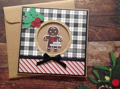 Christmas cards, gingerbread man cards, homemade cards, plaid Christmas, Handmade christmas card, handmade cards, Christmas card by PinkyPromiseBargains on Etsy