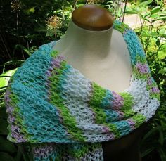 Hand Knit Wrap Cotton 'Perfectly Pastel' by lizziemac7 on Etsy, $55.00