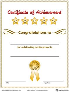 **FREE** Certificate of Achievement Award in Color Worksheet.Encourage your children by giving them a certificate of achievement award and inspire them to continue to achieve. Free Printable Certificate Templates, Graduation Certificate Template, Certificate Of Completion Template, Certificate Of Achievement Template, Certificate Design Template, Award Certificates, Education Certificate, Free Printables, Kids Awards