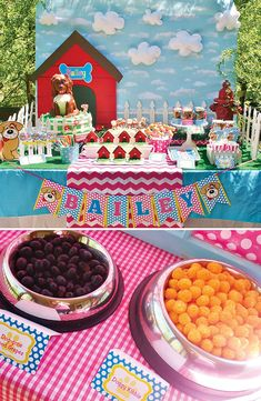 "Playful Doggy Party Ideas {Girls Birthday} with dog bone bowls, cute puppy face cake pops, dog house sugar cookies, and an ""Adopt a Puppy"" scavenger hunt! Dog Themed Parties, Puppy Birthday Parties, Puppy Party, Dog Birthday, Birthday Party Themes, Birthday Ideas, Circus Birthday, Party Animals, Animal Party"