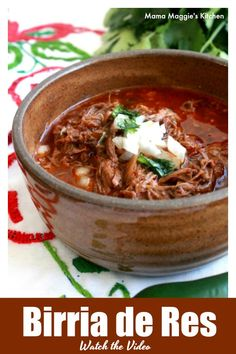 A bowl of this delicious Slow Cooker Birria de Res, or Mexican Beef stew, is so . - A bowl of this delicious Slow Cooker Birria de Res, or Mexican Beef stew, is so incredibly satisfyi - Authentic Mexican Recipes, Mexican Food Recipes, Slow Cooker Recipes Mexican, Best Mexican Food, Tasty Food Recipes, Crock Pot Recipes, Soup Recipes, Cooking Recipes, Dinner Ideas