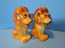 Vintage Ceramic Circus Zoo Lions Salt & Pepper Shakers Animals Home #529