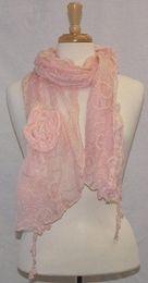 Tickled Pink Vintage Lace Scarf- Pink $26.95