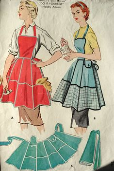 PRETTY Hobby Apron Pattern McCALLS 1942 'Do It Yourself' Aprons 2 Cute Styles Vintage Sewing Pattern UNCUT-Authentic vintage sewing patterns: This is a fabulous original dress making pattern, not a copy. Because the sewing patterns are vintage Vintage Apron Pattern, Aprons Vintage, Vintage Sewing Patterns, Retro Apron, Sewing Aprons, Sewing Clothes, Mccalls Patterns, Apron Patterns, Dress Patterns