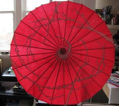 """RED . Cherry Blossoms Theme . Hand Painted Parasol 32"""" by ARTintersect"""