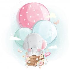 Cute Elephant Flying With Balloons Mommy and baby elephant holding a balloon Vector Ballon Illustration, Cute Illustration, Baby Animal Drawings, Cute Drawings, Nursery Canvas, Nursery Art, Cute Baby Elephant, Baby Elephants, Elephant Elephant