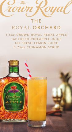Celebrate Spring with a crisp cocktail. The Royal Orchard combines the refreshing taste of apple with the tartness of lemon and the sweetness of pineapple. Whip it up yourself with this simple recipe: simply mix 1 ½ oz. Drink Bar, Liquor Drinks, Whiskey Cocktails, Cocktail Drinks, Alcoholic Drinks, Tequila Drinks, Bourbon Drinks, Classic Cocktails, Mixed Drinks Alcohol