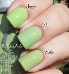Spring 2013 Comparisons: Orly Coachella Dweller vs Jessica Lime Cooler vs Essie Navigate Her. No dupes here either, Lime Cooler is more yellow toned and a lot brighter compared to Coachella Dweller. Navigate her is more of a pistachio green, it's more murky and yellow toned. I think you probably don't need all 3, I myself like Navigate Her the best of the 3! I used 2 coats for Navigate her and Lime Cooler and 3 coats of Coachella Dweller for the photo below.