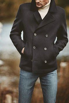 24 Style Trends for Attorneys There are so many ways to wear a peacoat and you can hardly go wrong with it. If you need some inspiration, check out our collection of mens peacoat looks. Peacoat Outfit, Mens Peacoat, Caban Bleu Marine, Stylish Men, Men Casual, Men's Coats And Jackets, Fashion Outfits, Mens Fashion, Fashion News