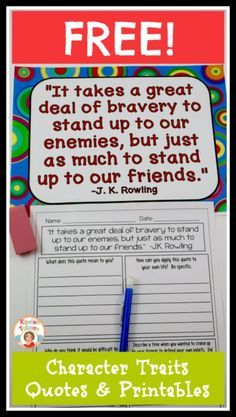 Character Traits Quotes and FREE no-prep printables! Do you want your students… Character Activities, Character Education Lessons, Character Trait, Character Development, Kids Education, Anti Bullying Activities, Therapy Activities, Growth Mindset Quotes, 4th Grade Reading