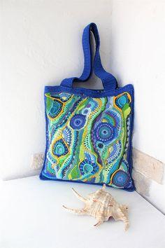 Maghreb. Crochet Bag, Summer bag of cotton. Bright blue bag, freeform bag, beach bag