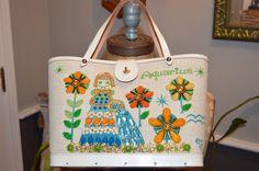 vintage pristine enid collins texas AQUARIUS ZODIAC CANVAS jeweled handbag purse #enidcollins #ShoulderBag