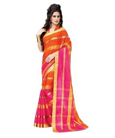OFFICE WEAR ORANGE AND PINK POLY COTTON ZARI SAREE