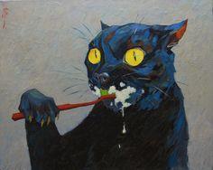 Experiments on cats, Alexander Mityaev, oil on canvas, 2016 - Art Arte Grunge, Regard Animal, Weird Art, Art Plastique, Aesthetic Art, Art Inspo, Oil On Canvas, Paintings On Canvas, Cat Paintings