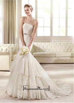 Alluring Satin&Tulle Mermaid Bateau Neckline Natural Waistline Wedding Dress
