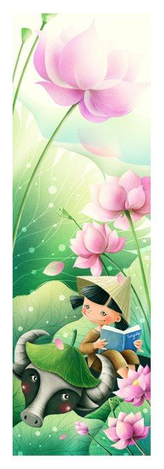 Vietnamese children by Tahypuka Creative Haven Coloring Books, Lotus Painting, Laos, Children's Book Illustration, Illustrations, Mid Autumn Festival, Fall Flowers, Girl Cartoon, Animal Drawings