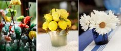 love the middle one...sweet way to bring in yellow ,and love the touch of moss.