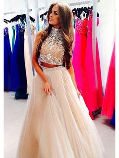 A-Line/Princess High Neck Sleeveless Beading Tulle Floor-Length Dresses