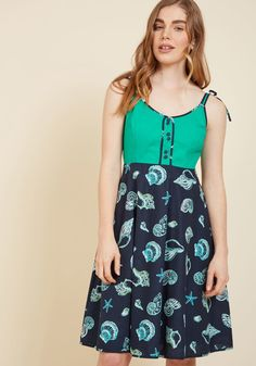 Waving from the Waterfront A-Line Dress in Shells