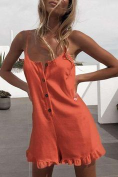 Button Down Sleeveless Ruffle Cami Romper – streetmia Western Dresses For Women, Summer Romper, Jumpsuit Outfit, Rompers Women, Playsuit, Cotton Linen, Types Of Sleeves, Summer Dresses