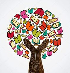 Illustration about Global education concept tree hand books. Vector file layered for easy manipulation and custom coloring. Illustration of idea, background, concept - 32018646 I Love Books, My Books, Library Posters, Book Tree, School Murals, Buch Design, Reading Art, Art Drawings For Kids, Book Tattoo