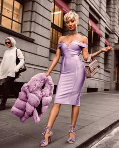 Lilac lovin' Dress by @ohpolly [coat is faux fur]