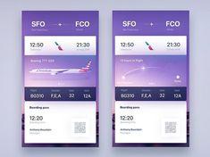 Tickets for Tinder Travel concept exploration by gleb by Gleb Kuznetsov✈ on Dribbble Mobile Ui Design, App Ui Design, Web Design, Flight App, Fly App, Travel Agency Website, Music App, Apps, Online Travel
