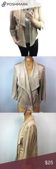 Sz XL Faux Suede Jacket! Lower your shipping and get a discount by bundling items from my closet!! Feel free to see what I have in your size and style  Material is 100% polyester, but feels just like suede. Super cute jacket, has built in shoulder pads...great for work/fancier occasion or to dress up for a night out! Covington Jackets & Coats