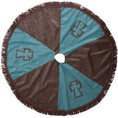 Brown and Turquoise Cross Western Tree Skirt Western Christmas Tree, Cowboy Christmas, Country Christmas, Christmas Time, Christmas Crafts, Christmas Ideas, Western Wreaths, Western Decor, Holiday Fun