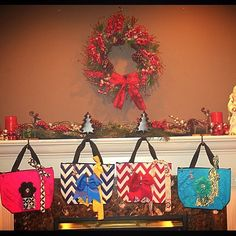 Vivajennz wine purses hung by the chimney with care in hope to be dispensing wine to friends who would soon be there! #sharktanknow #santababy #autism #tistheseason