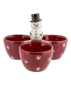 Look at this Snowman Three-Section Serving Bowl on #zulily today!
