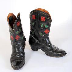 Black Vintage Mens Cowboy Boots
