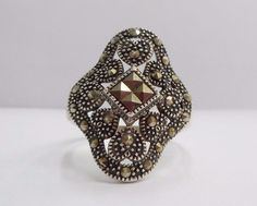 SALE Vintage 950 Sterling Silver Marcasite Ring Sz 7.75 #790