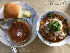 Misal Pav from Maharashtra Garam Masala, Chana Masala, Easy Indian Recipes, Ethnic Recipes, Spicy Gravy, Dry Coconut, Roasted Onions, Curry Leaves, Savory Snacks