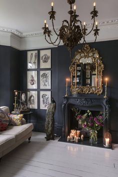 This house is a total dream! A living room with the most beautiful dark walls (and that mirror! that chandelier!), a new spacious kitchen, a rustic boho dining room (with THREE vintage chandeli - Wedding Home Decoration Victorian House Plans, Gothic House, Gothic Room, Gothic Mansion, Haunted Mansion, White Interior Design, Home Interior, Gothic Interior, Mansion Interior