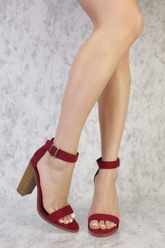 Wine Buckle Detailing Open Toe Single Sole Chunky High Heels Suede