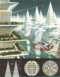 A retro image of a future city