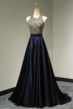 Dark blue sequin long prom dress, sequin evening dress for teens