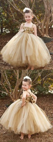 Brown Tulle Pixie Tutu Dresses, Popular Flower Girl Dresses, Free Custom Dresses, FG021