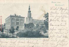 AK Greifswald. Universitäts-Bibliothek mit Nikolaikirche, 1900